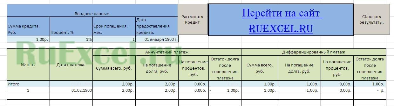 Калькулятор расчета кредита