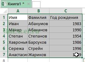 Выделить переворачиваемую таблицу