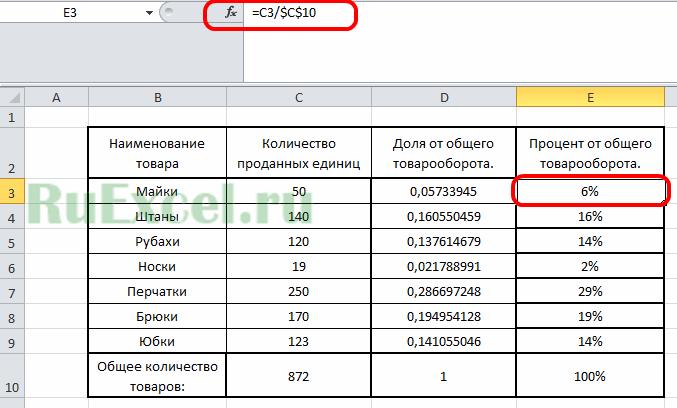 Формула процентов в Excel